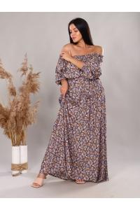 Платье повседневное в пол, цветочный принт,синий