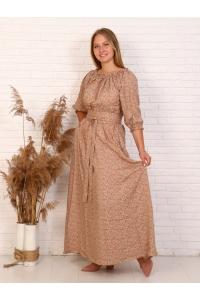 Платье повседневное в пол, принт терракотовый