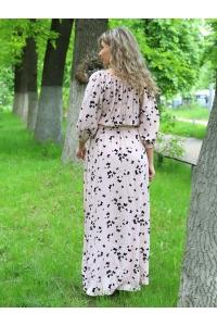 Платье повседневное в пол, принт черные бабочки