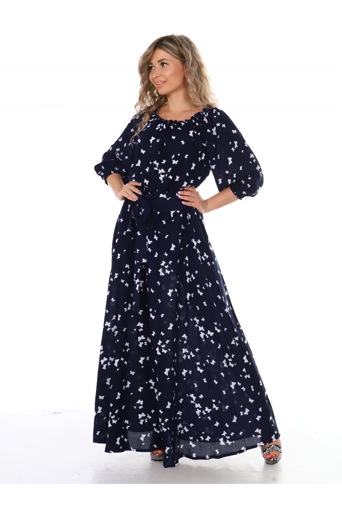 Платье повседневное в пол, принт белые бабочки на черном