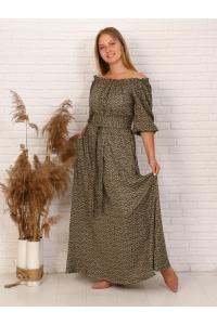 Платье повседневное в пол, принт зеленый мелкий цветок