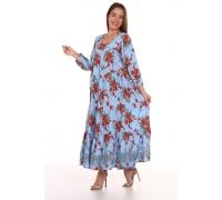 Платье повседневное с синим кружевом