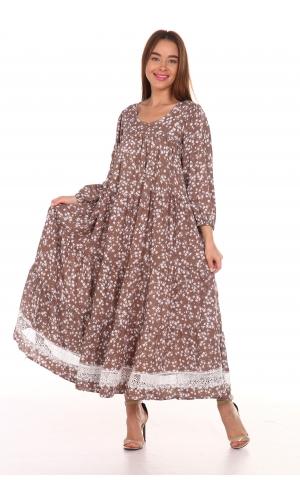 Платье повседневное с белым кружевом