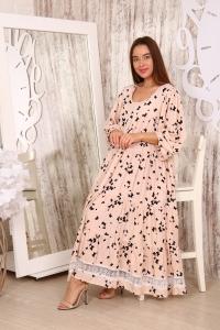 Платье повседневное с белым кружевом, принт крупные бабочки