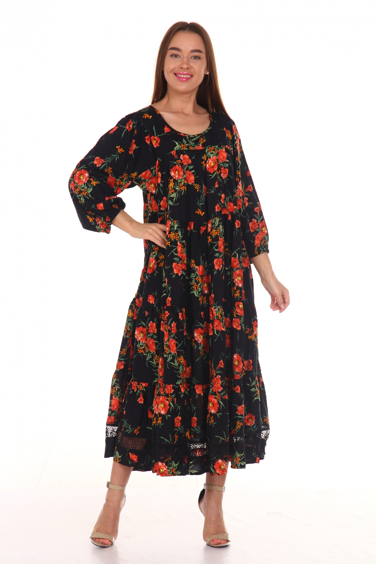 Платье повседневное с черным кружевом, принт красные розы