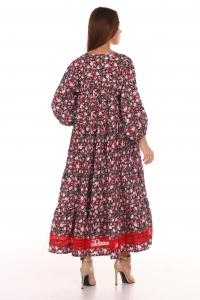 Платье повседневное с красным кружевом, принт цветочный