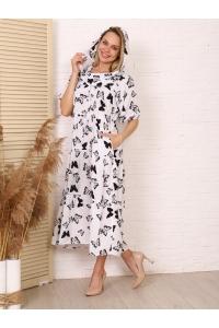 Платье повседневное с капюшоном, принт бабочки