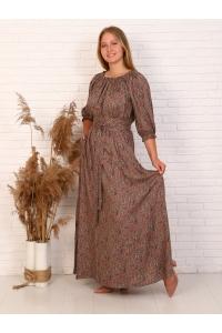 Платье длина макси рукав 7/8 цвет коричневый