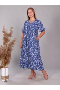 Платье повседневное свободного кроя ярусами, цвет синий