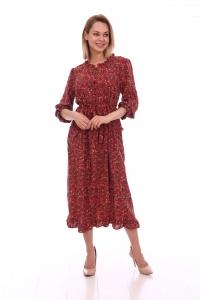 Платье повседневное свободного кроя на пуговицах, принт мелкий цветок, красный