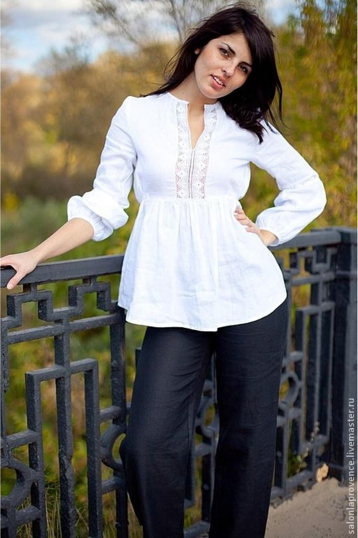 Блузка льняная с длинным рукавом - suzdalshop