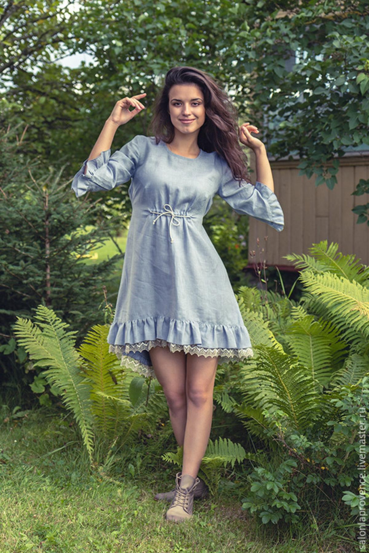 Платье льняное короткое - suzdalshop