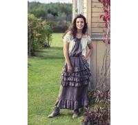 Платье в стиле БОХО с полосатым верхом