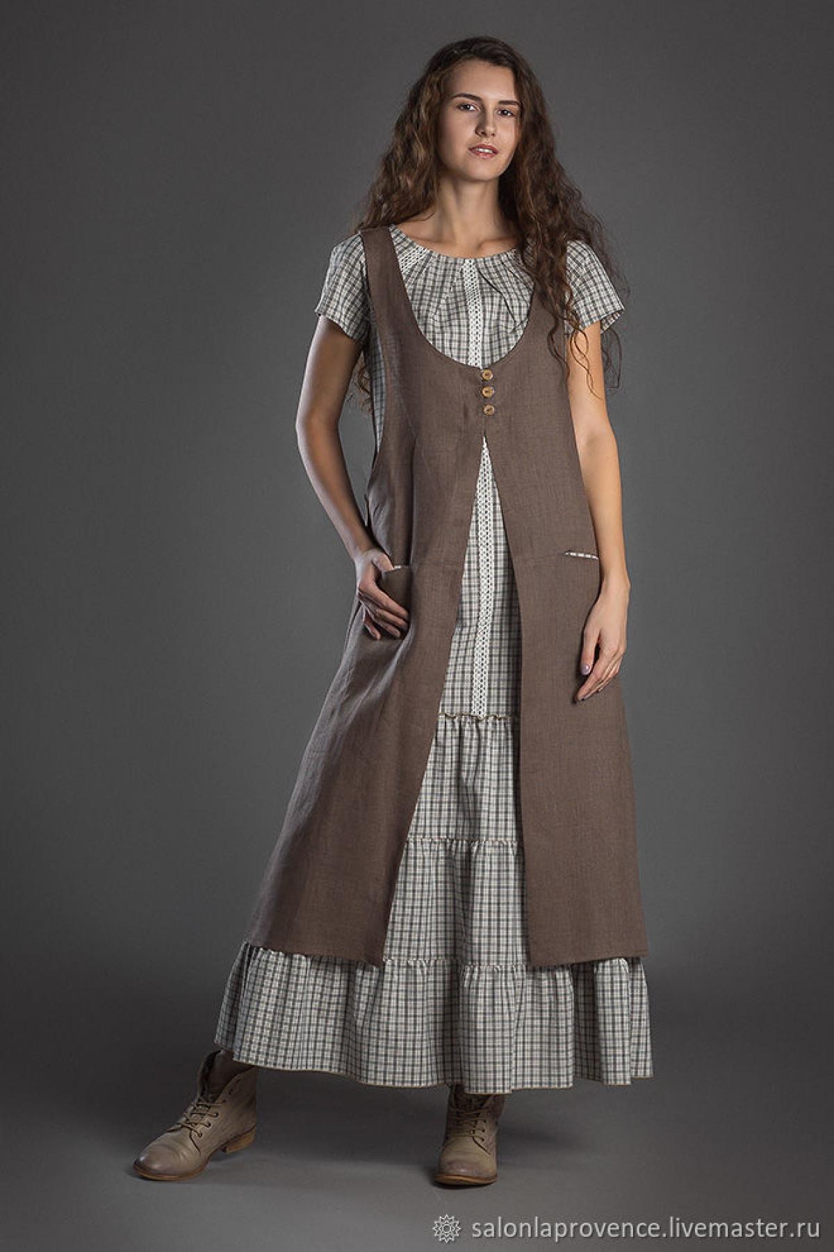 Комплект с хлопковым платьем с коротким рукавом и туникой изо льна - suzdalshop
