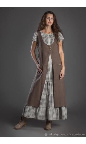 Комплект с хлопковым платьем с коротким рукавом и туникой изо льна