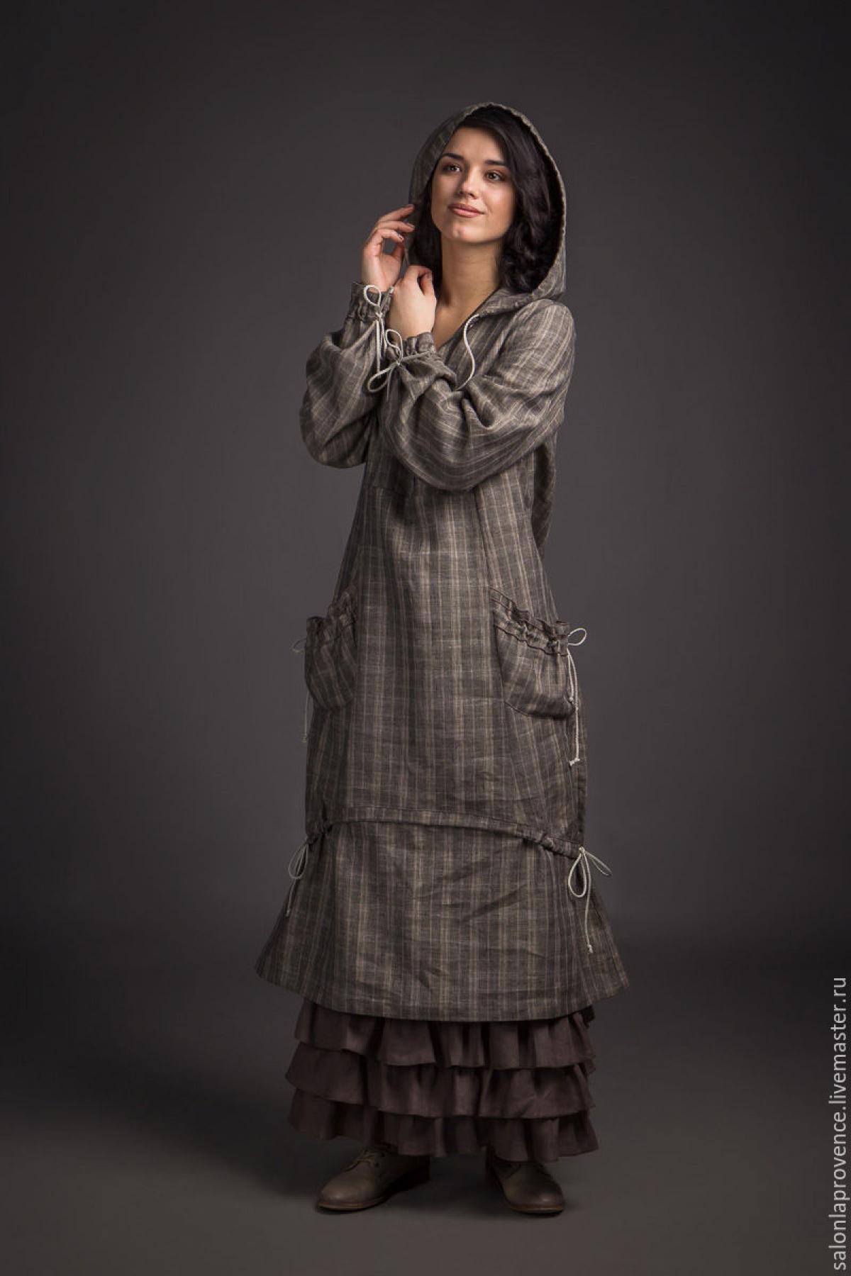 Платье в клетку с капюшоном - suzdalshop