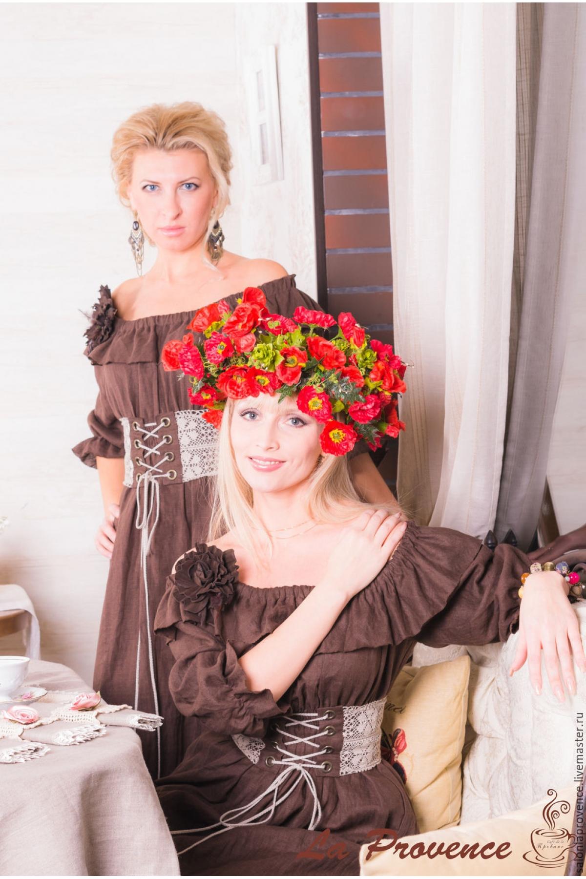 Копия работы Платье льняное с поясом в стиле БОХО - suzdalshop