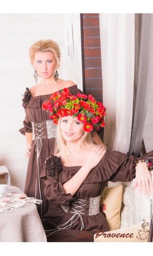 Копия работы Платье льняное с  поясом в стиле БОХО