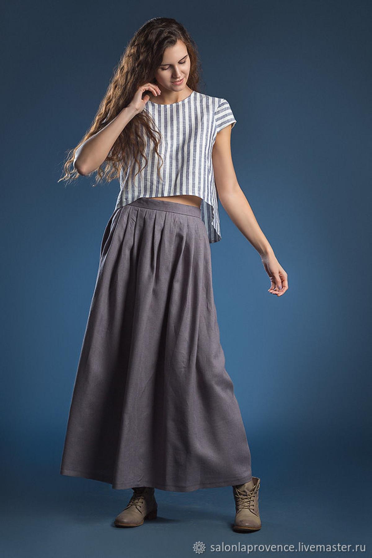 Блузка полоска и юбка лаванда - suzdalshop