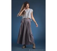Блузка полоска и юбка лаванда