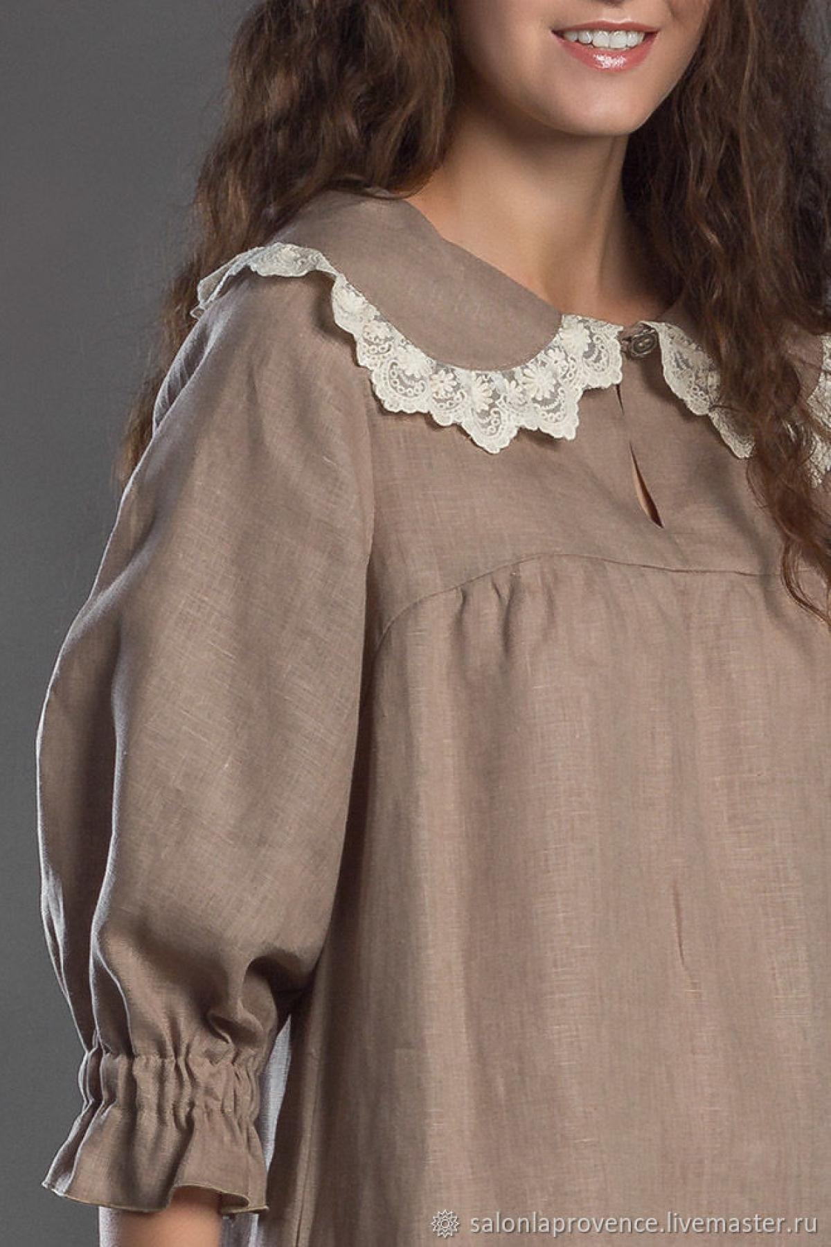 Платье льняное с кружевом на воротнике - suzdalshop