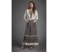 Комплект жакет в полоску , маечка и юбка с полосатой оборкой