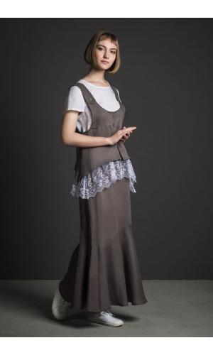 Комплект льняной , жилет, блузка и юбка