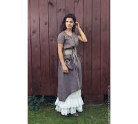 Комплект льняной платье с юбкой и поясом