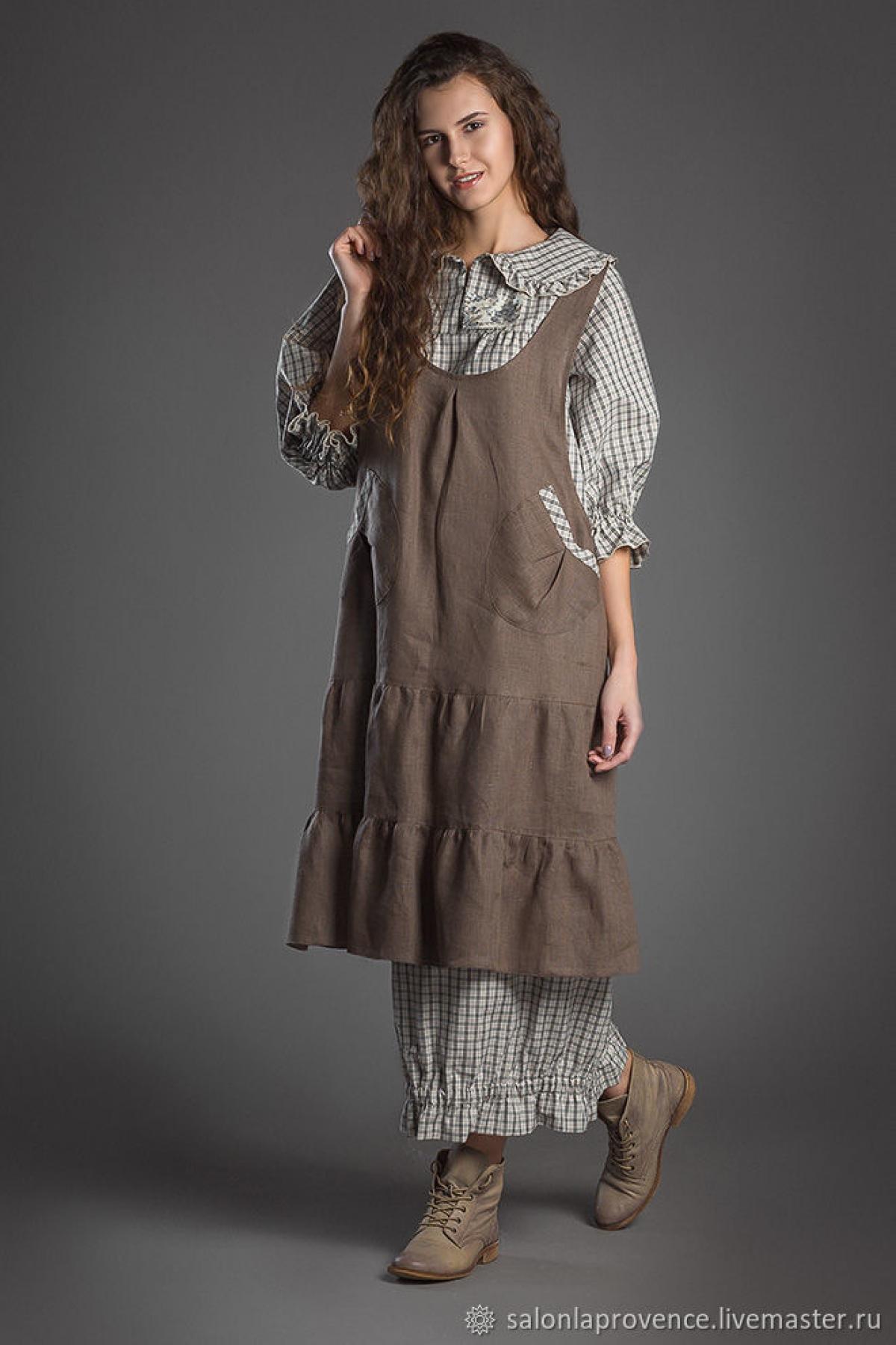 Комплект платье хлопок с длинным рукавом и туника изо льна - suzdalshop