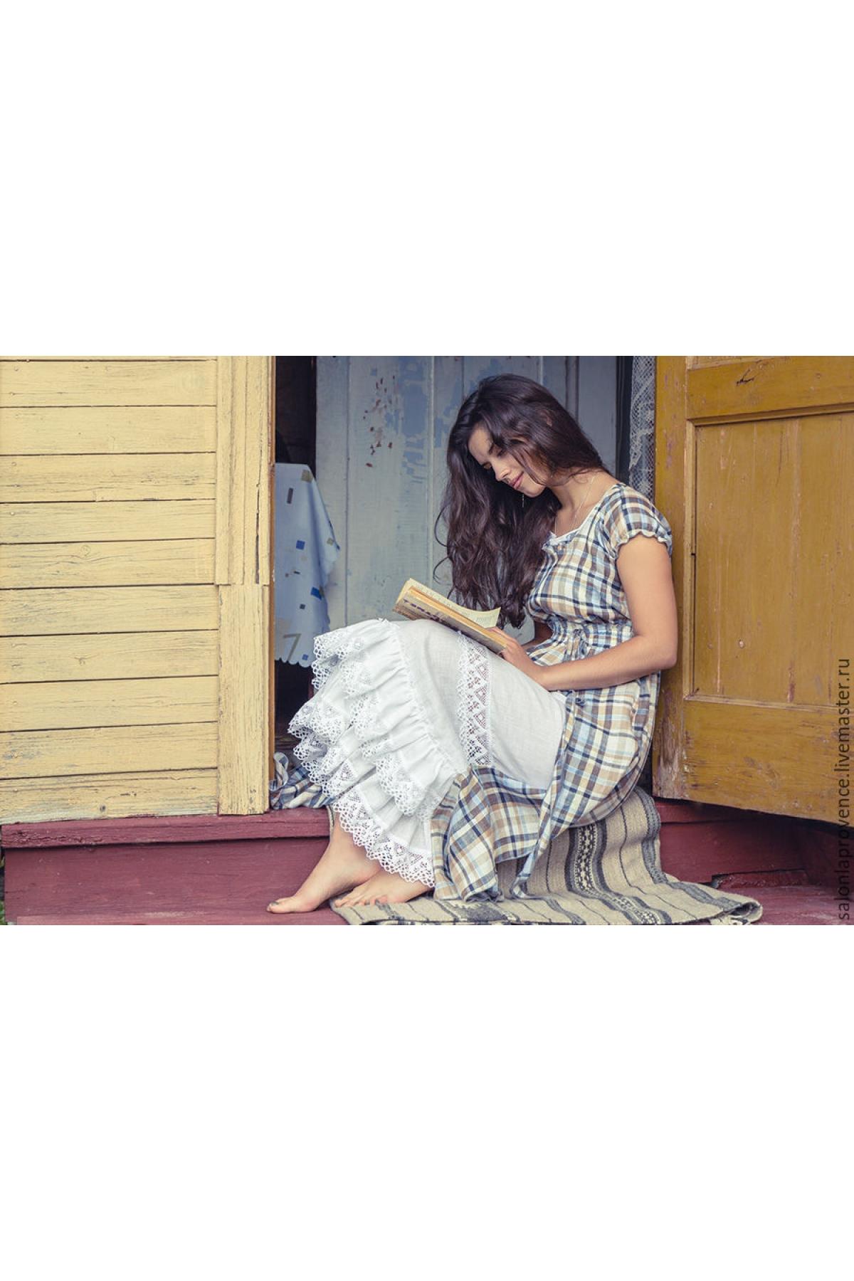 Платье льняное голубое с белой вставкой - suzdalshop
