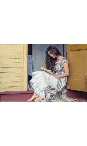 Платье льняное голубое с белой вставкой