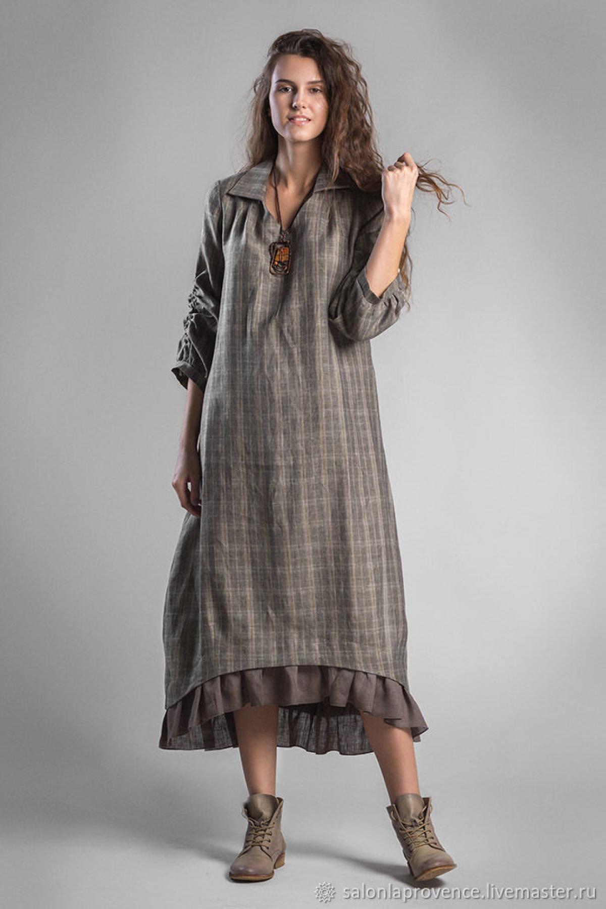 Платье с воротником и оборкой - suzdalshop