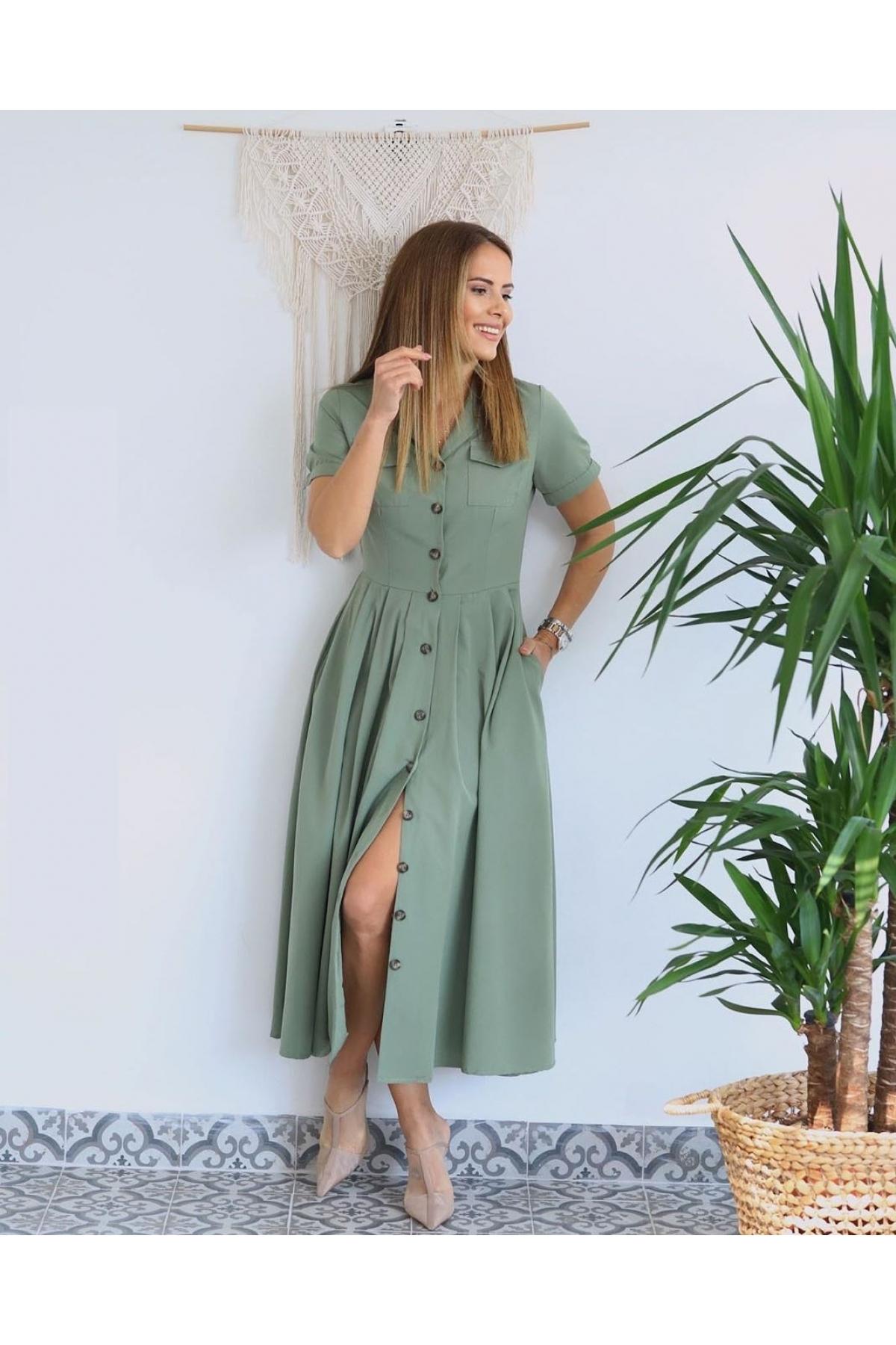 Платье миди-длины с кармашиками