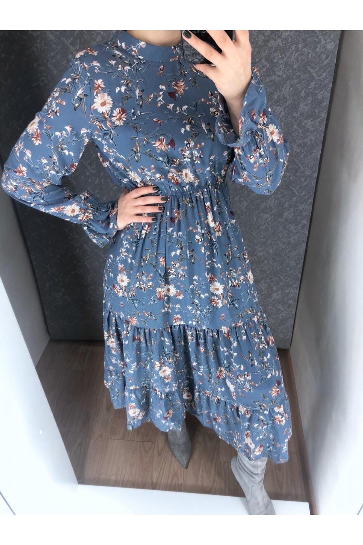 Платье хлопковое синее