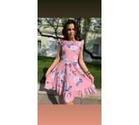 Платье миди розовый принт