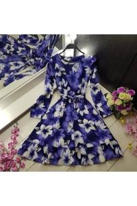 Платье синее из хлопка