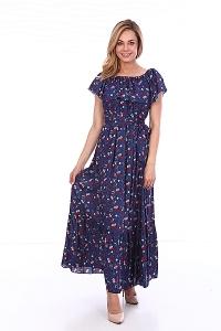Платье синее с мелкими цветами