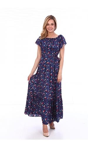 Платье синее в мелкий цветок