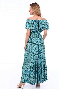 Платье синее с воланом принт бабочки