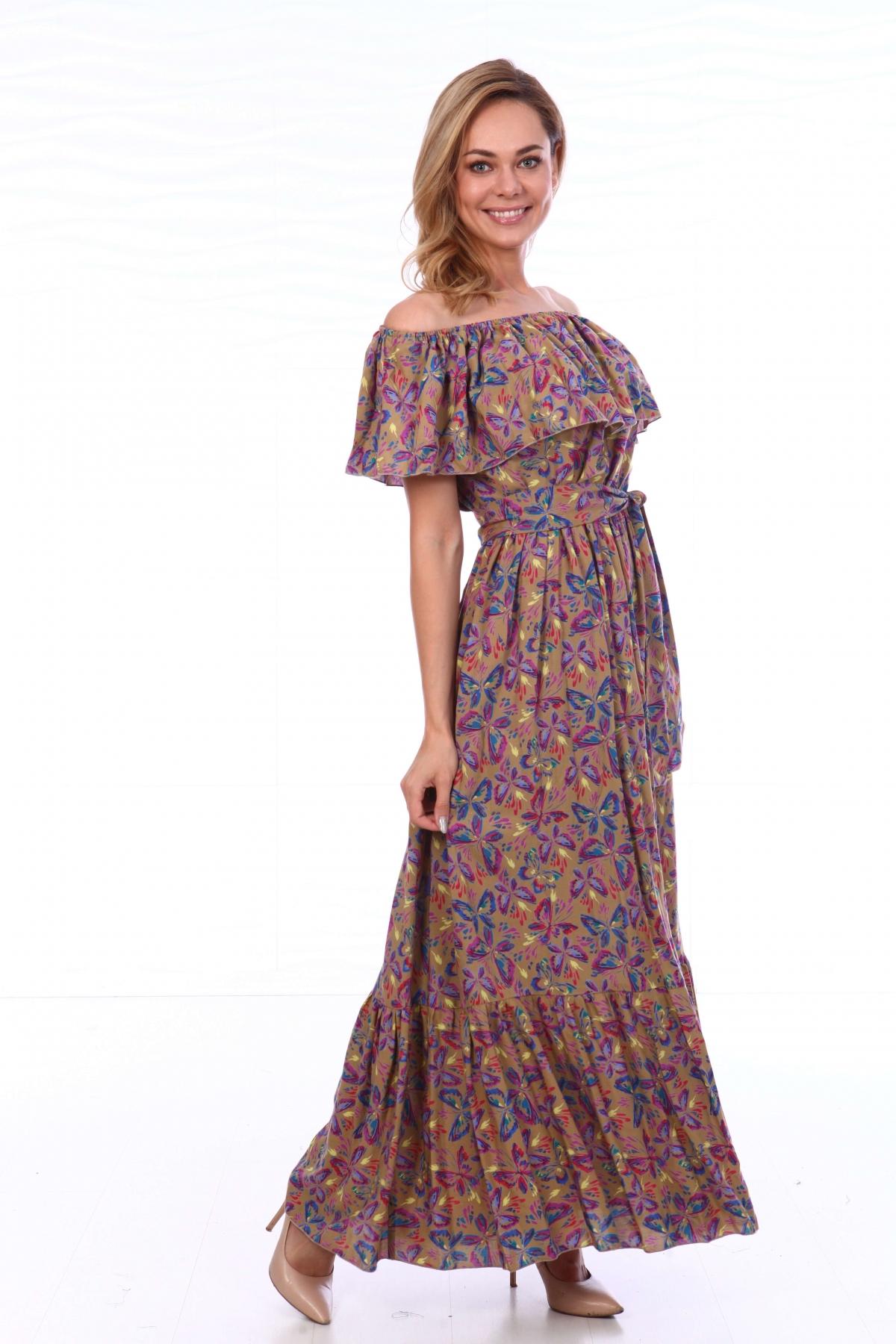 Платье с воланом на резинке