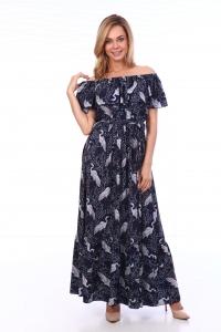 Платье синее с принтом цапли