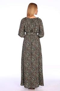 Платье в пол зеленые огурцы